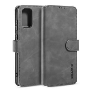 Voor Galaxy S20 DG. MING Retro Oil Side Horizontal Flip Case met Holder & Card Slots & Wallet(Grey)