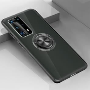 Voor Huawei P40 Pro Ultradunne TPU-beschermhoes met 360 graden rotatiehouder (zwart)