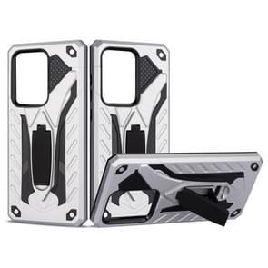 Voor Galaxy S20 Ultra Shockproof TPU + PC Beschermhoes met houder (zilver)