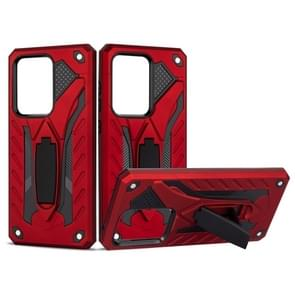 Voor Galaxy S20 Ultra Shockproof TPU + PC Beschermhoes met houder (rood)