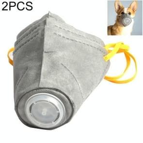 2 PCS ademende Anti Fog PM2.5 Dog Protective Muzzle Mask Dustproof Face Mouth Mask  Size::M 26cm x 9cm(Grey)