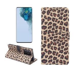Voor Galaxy S20 Ultra Leopard Patroon Horizontale Flip Lederen Case met Houder & Card Slots(Geel)