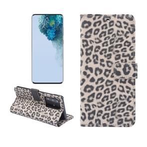 Voor Galaxy S20 Ultra Leopard Patroon Horizontale Flip Lederen Case met Houder & Card Slots(Bruin)