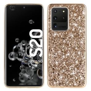 Voor Galaxy S20 Ultra Plating Glittery Powder Shockproof TPU beschermhoes (Goud)