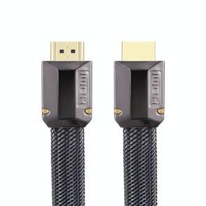 Voor HDMI 1.5m 2.0 Versie HD Kabel 19 + 1 Standaard Zuurstofvrij Kopermetaal Sshell 4K TV Platte kabel (Gun Black + Nylon Mesh)