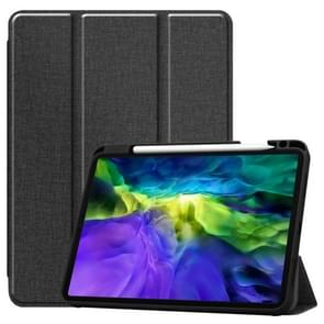 Fabric Denim TPU Smart Tablet Leather Case with Sleep Function & Tri-Fold Bracket & Pen Slot(Black)