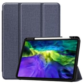 Fabric Denim TPU Smart Tablet Leather Case with Sleep Function & Tri-Fold Bracket & Pen Slot(Blauw)