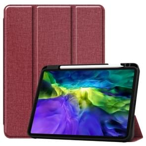 Fabric Denim TPU Smart Tablet Leather Case with Sleep Function & Tri-Fold Bracket & Pen Slot(Red)
