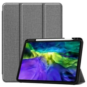 Fabric Denim TPU Smart Tablet Leather Case with Sleep Function & Tri-Fold Bracket & Pen Slot(Grijs)