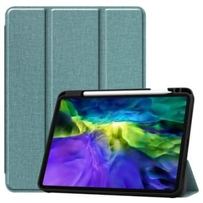 Fabric Denim TPU Smart Tablet Leather Case with Sleep Function & Tri-Fold Bracket & Pen Slot(Mint Green)