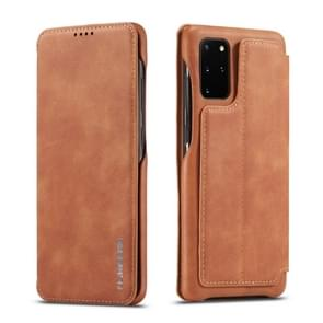 Voor Galaxy S20 LC. IMEEKE Hon Ancient Series Horizontal Flip Leather Case with Holder & Card Slot(Brown)