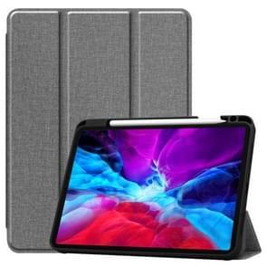 Fabric Denim TPU Smart Tablet Leather Case with Sleep Function & Tri-Fold Bracket & Pen Slot(Grijs)