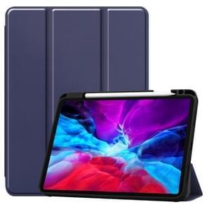 Custer Patroon Pure Color TPU Smart Tablet Holster met slaapfunctie & tri-fold beugel & pensleuf(Navy)