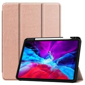 Custer Patroon Pure Color TPU Smart Tablet Holster met slaapfunctie & tri-fold beugel & pensleuf(Rose Gold)