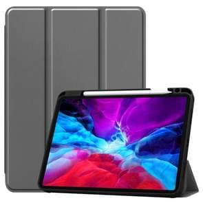 Custer Patroon Pure Color TPU Smart Tablet Holster met slaapfunctie & tri-fold beugel & pensleuf(grijs)