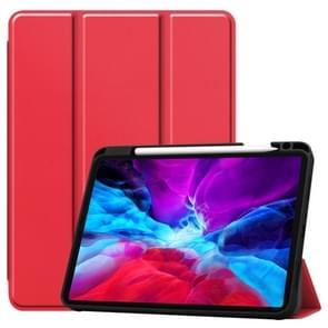 Custer Patroon Pure Color TPU Smart Tablet Holster met slaapfunctie & tri-fold beugel & pensleuf(Scarlet)