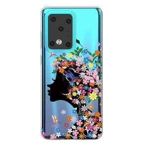 Voor Galaxy S20 Ultra Lucency Painted TPU Protective Case (Flower Girl)