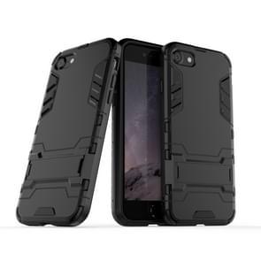 Voor iPhone SE2 PC + TPU Shockproof Beschermhoes met houder (zwart)