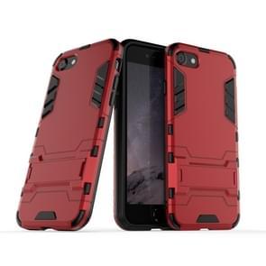 Voor iPhone SE2 PC + TPU Shockproof Beschermhoes met houder (rood)