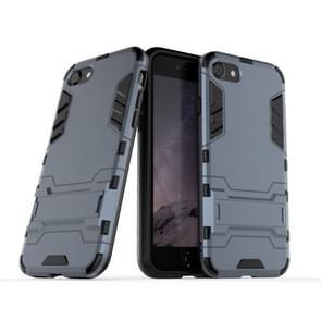 Voor iPhone SE2 PC + TPU Shockproof Beschermhoes met houder (Marine)