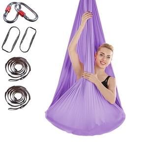Indoor Anti-gravity Yoga Knot-free Aerial Yoga Hangmat met gesp / verlengband  maat: 400x280cm (Licht paars)