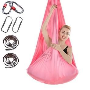 Indoor Anti-gravity Yoga Knot-free Aerial Yoga Hangmat met gesp / verlengband  maat: 400x280cm (Roze)