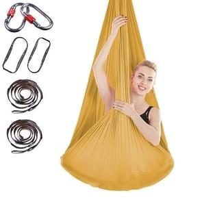 Indoor Anti-gravity Yoga Knot-free Aerial Yoga Hangmat met gesp / verlengband  maat: 400x280cm (Goud)