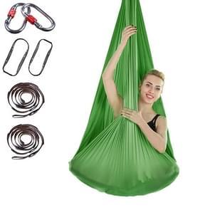 Indoor Anti-gravity Yoga Knot-free Aerial Yoga Hangmat met gesp / verlengband  maat: 400x280cm(Groen)