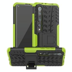 Voor Xiaomi Mi 10 Pro Tire Texture Shockproof TPU+PC Protective Case with Holder (Green)