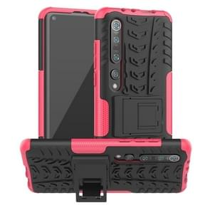 Voor Xiaomi Mi 10 Pro Tire Texture Shockproof TPU+PC Protective Case with Holder (Rose Red)