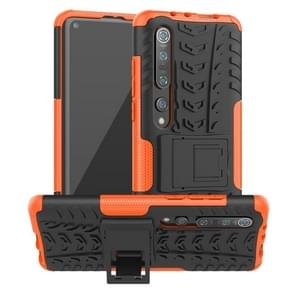 Voor Xiaomi Mi 10 Pro Tire Texture Shockproof TPU+PC Protective Case with Holder (Orange)