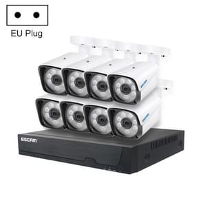 ESCAM PVR608 HD 1080P 8CH H.265 Humanoid POE NVR Security System(EU Plug)