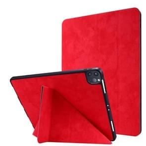 Voor iPad Pro 12 9 inch 2020 Silk Texture Horizontal Deformation Flip Leather Case met Holder & Pen Slot(Rood)