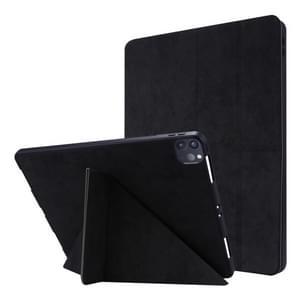 Voor iPad Pro 12 9 inch 2020 Silk Texture Horizontal Deformation Flip Leather Case met Holder & Pen Slot(Zwart)