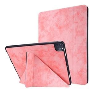 Voor iPad Pro 12 9 inch 2020 Silk Texture Horizontal Deformation Flip Leather Case met Holder & Pen Slot(Roze)