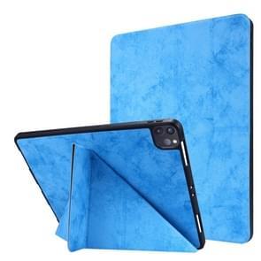 Voor iPad Pro 12 9 inch 2020 Silk Texture Horizontal Deformation Flip Leather Case met Holder & Pen Slot(Lichtblauw)