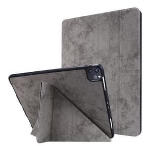 Voor iPad Pro 12 9 inch 2020 Silk Texture Horizontal Deformation Flip Leather Case met Holder & Pen Slot(Grijs)