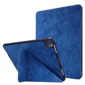 Voor iPad Pro 12 9 inch 2020 Silk Texture Horizontal Deformation Flip Leather Case met Holder & Pen Slot(Blauw)