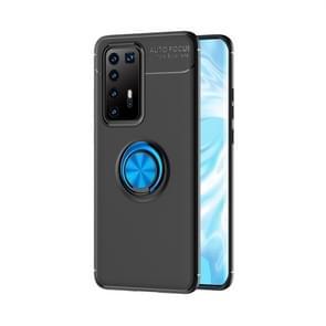 Voor Huawei P40 Pro Lenuo Shockproof TPU beschermhoes met onzichtbare houder (zwart + blauw)