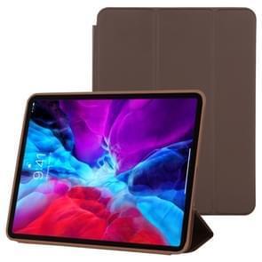Voor iPad Pro 12 9 inch (2020) 3-voudige horizontale flip smart leather case met sleep / Wake-up Function & Holder (Brown)