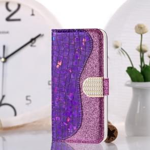 Voor Xiaomi Redmi Note 8 Pro Laser Glitter Poeder Matching Crocodile Texture Horizontal Flip Leather Case  with Card Slots & Holder (Purple) Voor Xiaomi Redmi Note 8 Pro Laser Glitter Powder Matching Crocodile Texture Horizontal Flip Leather Case  with Ca