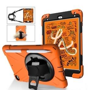 Voor iPad Mini 5 360 graden Rotatie Siliconen beschermhoes met houder & handband & long strap & pencil slot(Oranje)