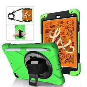 Voor iPad Mini 5 360 Graden Rotatie Siliconen beschermhoes met houder & handriem & longstrap & pencil slot(Grenn)