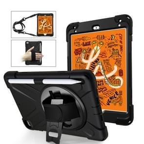 Voor iPad Mini 5 360 graden Rotatie Siliconen beschermhoes met houder & handriem & longstrap & pencil slot(zwart)