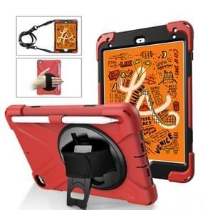 Voor iPad Mini 5 360 graden Rotatie Siliconen beschermhoes met houder & handriem & longstrap & pencil slot(rood)