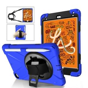 Voor iPad Mini 5 360 graden Rotatie Siliconen beschermhoes met houder & handriem & longstrap & pencil slot(blauw)
