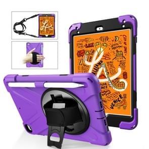 Voor iPad Mini 5 360 graden Rotatie Siliconen beschermhoes met houder & handriem & longstrap & pencil slot(paars)