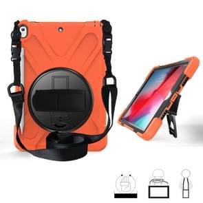 Voor iPad Pro 10 5 360 graden Rotatie Siliconen beschermhoes met houder & handriem & longstrap & pencil slot(Oranje)