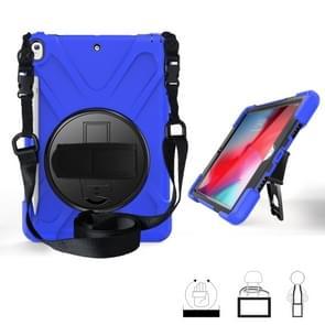 Voor iPad Pro 10 5 360 graden Rotatie Siliconen beschermhoes met houder & handriem & longstrap & pencil slot(blauw)