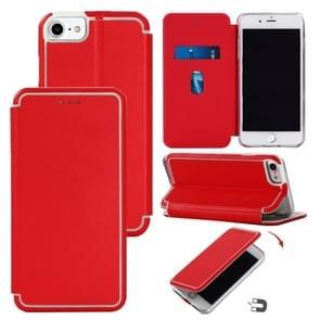 Voor iPhone SE (2020) Ultradunne Magnetic Fitted Leather Flip Case met Houder & Card Slot(Rood)